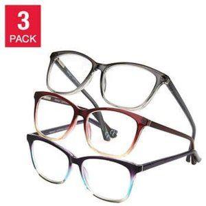 Full Rim Plastic Reading Glasses, 3-pack